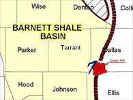 Map of the Barnett Shale Basin, as it pertains to gas drilling and production regulations.